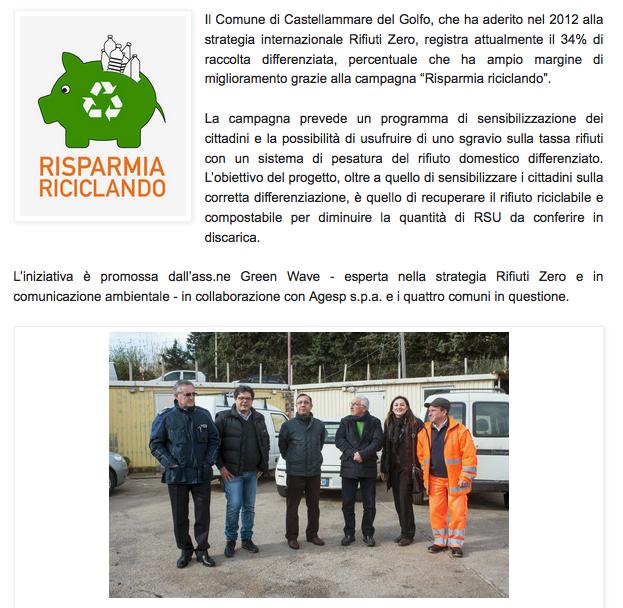 """Comune di Castellammare del Golfo: ampio margine di miglioramento grazie acca campagna """"risparmia riciclando"""""""