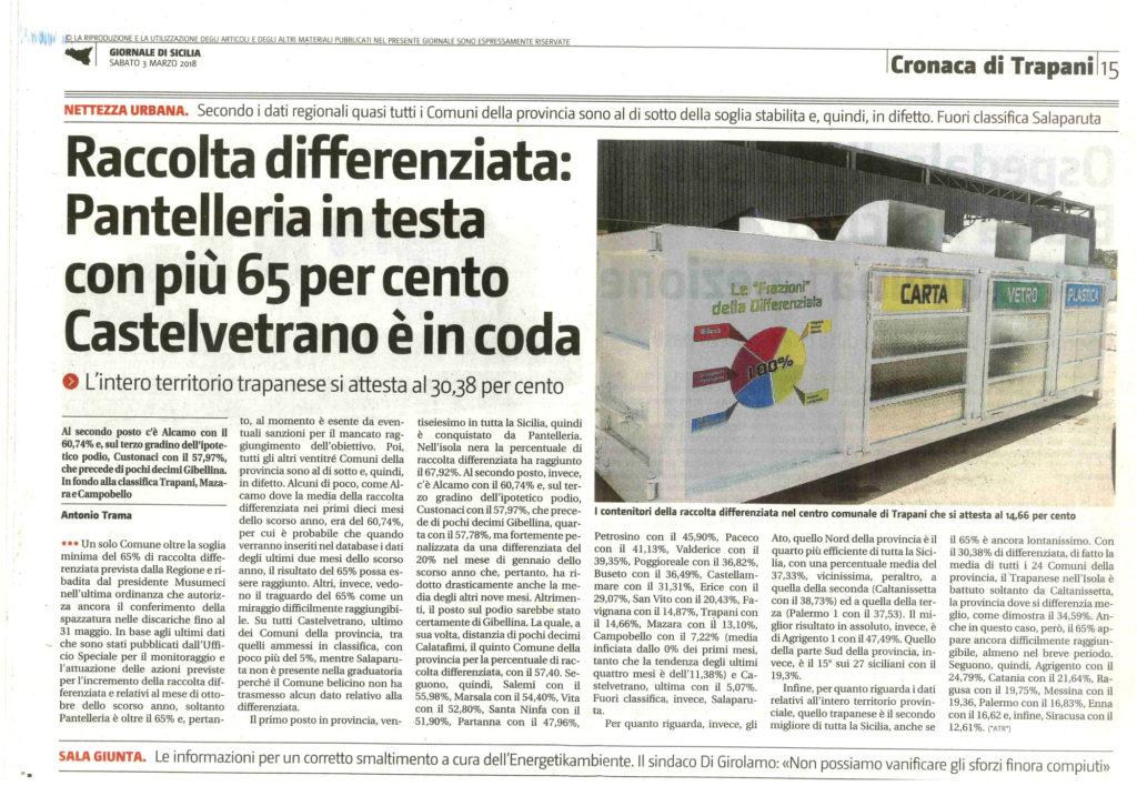 Pantelleria: raccolta differenziata in testa con più 65%