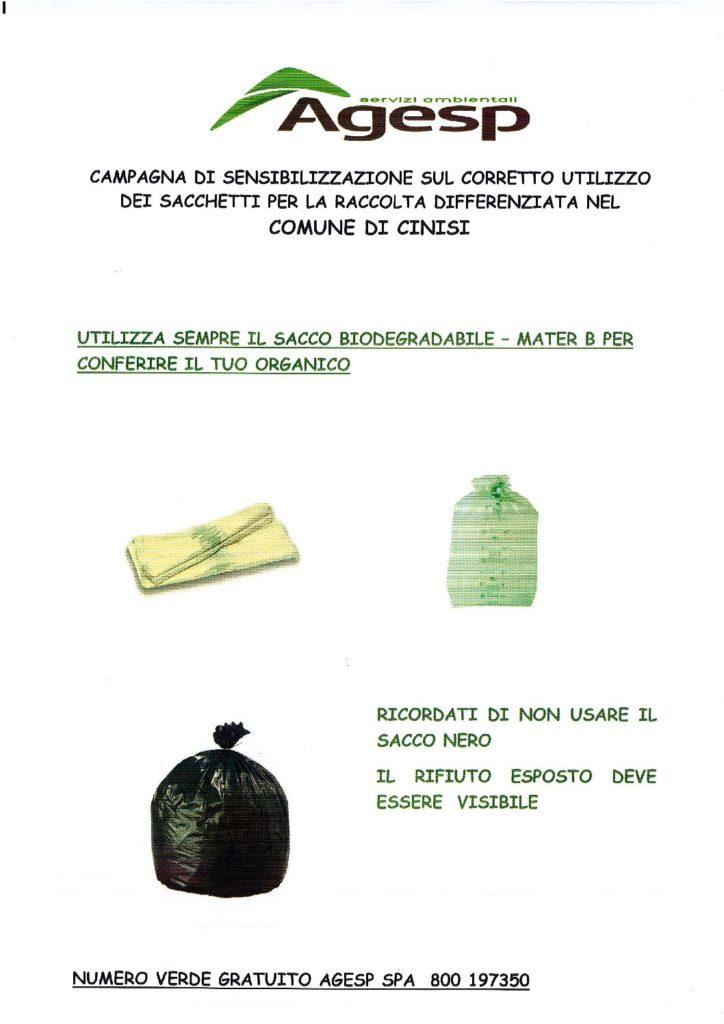 Campagna di sensibilizzazione sul corretto utilizzo dei sacchetti per la raccolta differenziata.