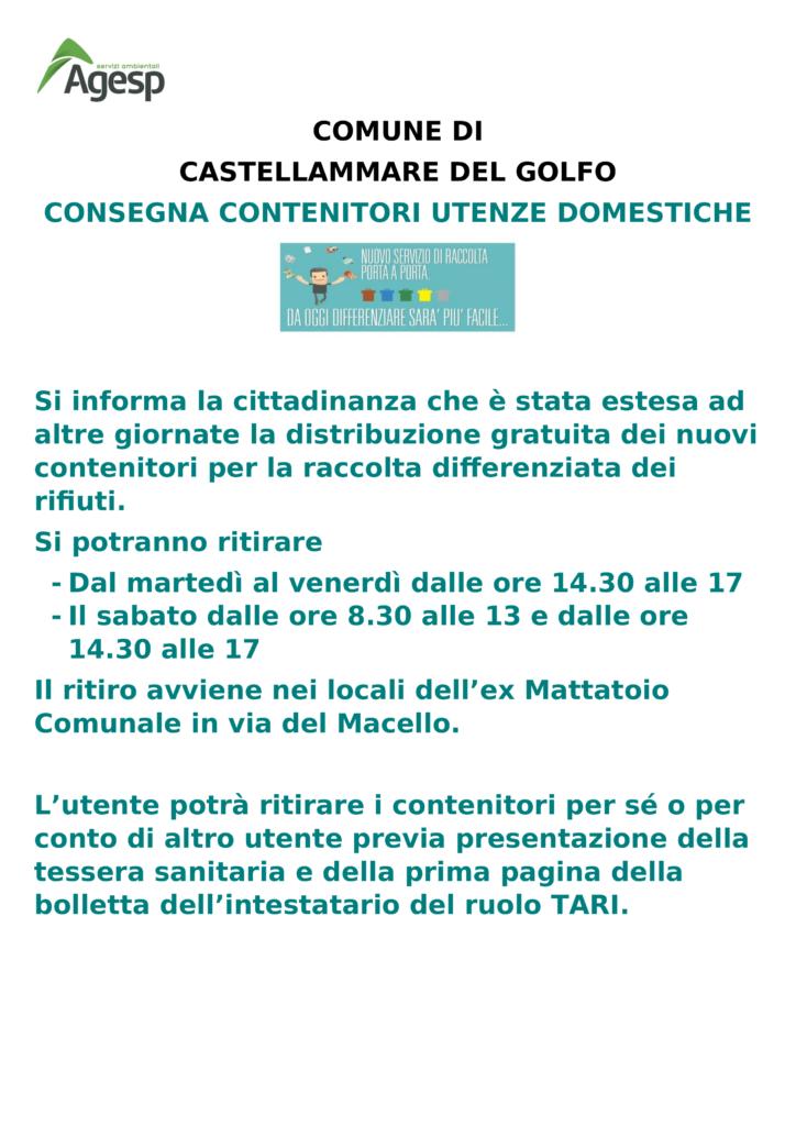 Distribuzione contenitori per la raccolta differenziata presso l'ex macello sino al giorno 31.10.2020